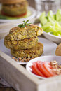 Vegan burgers with chickpeas and vegetables Royalty Free Stock Photos