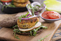 Vegan burgers with quinoa and vegetables Royalty Free Stock Photo