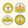 Vegan food badges vector eps hand drawn labels Royalty Free Stock Photos