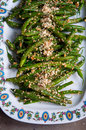 Vegan green bean salad been with sesame seeds Royalty Free Stock Photos