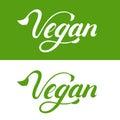 Vegan hand written lettering logo, label, emblem, icon.