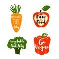 Vegan Labels set. - Cocept. doodle - Sweet Pepper. Red Apple. Green Broccoli. Carrot. Vector Illustration
