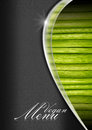 Vegan menu menu template black and gray background metal wave and green vegetables for a Stock Images
