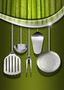 Vegan menu template background with green vegetables kitchen utensils and metal wave for a Stock Photos