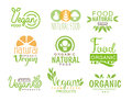 Vegan Natural Food Set Of Template Cafe Logo Signs In Green, Orange Colors Promoting Healthy Lifestyle And Eco Products Royalty Free Stock Photo