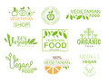 Vegan Natural Food Set Of Template Shop Logo Signs In Green And Orange Colors Promoting Healthy Lifestyle And Eco Royalty Free Stock Photo