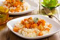Vegan risotto with butternut squash Royalty Free Stock Photo