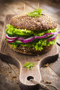 Vegan rye burger with fresh vegetables Royalty Free Stock Photo