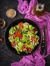 Vegan salad of fresh vegetables and cabbage romanesko. Royalty Free Stock Photo