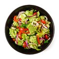 Vegan salad of fresh vegetables and cabbage romanesko. Royalty Free Stock Photo