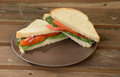 Vegan sandwich on wheat bread with tomatoes and lettuce Royalty Free Stock Images