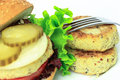 Vegan sea burger  on white Royalty Free Stock Photo
