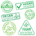Vegan stamps and natural food rubber stamp illustrations Royalty Free Stock Photos