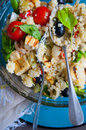Vegan tofu salad with cherry tomatoes olives and basil Royalty Free Stock Photography