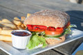 Vegan vegetable sandwich roasted pepper and mixed salad with chips and tomato sauce Stock Photos