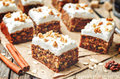 Vegan walnuts carrot cake with cashew cream frosting Royalty Free Stock Photo