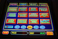 Vegas video poker machine a close up of a screen offering different game choices is photographed in las Stock Photo