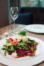 Vegetable appetizer on restaurant table a Royalty Free Stock Photo