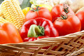 Vegetable basket with fresh vegetables Stock Photo