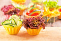 Vegetable canapes fresh organic salad Royalty Free Stock Photo
