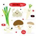 Vegetable Cartoon Cute Set Radish Shiitake Eringii Mushroom Garlic Leek Vector Royalty Free Stock Photo
