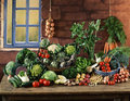 Vegetable composition on a kitchen table Royalty Free Stock Photography