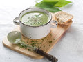 Vegetable cream soup delicious with broccoli and parsley selective focus Stock Image