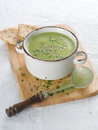 Vegetable cream soup delicious with broccoli and parsley selective focus Stock Photo
