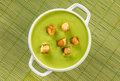 vegetable cream soup puree with croutons Royalty Free Stock Photo
