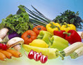 Vegetable display. Stock Photo