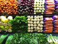 Vegetable Farm Produce on Store Grocery Shelves Royalty Free Stock Photo