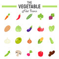 Vegetable flat icon set, food symbols collection