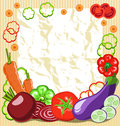 Vegetable frame of vegetables with a piece of paper Stock Image
