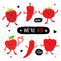 Vegetable and Fruit Cartoon Cute Set Pepper Red Chili Tomato Apple Strawberry Vector Royalty Free Stock Photo