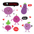 Vegetable and Fruit Cartoon Cute Set Shallot Eggplant Beetroot Cabbage Plum Vector Royalty Free Stock Photo