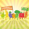 Vegetable and fruit characters parade with posters Stock Images