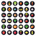 Vegetable and fruit icons vector set. Modern flat design. Multicolored.