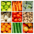 Vegetable fruit nutrition collage Royalty Free Stock Photo