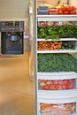 Vegetable and Fruit Stuffed Refrigerator Royalty Free Stock Photo