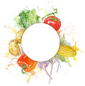 Vegetable hand painted watercolor frame with splashes on white background.