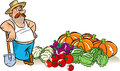 Vegetable harvest the illustration shows a man in a hat with spade he stands near a pile of vegetables harvested from the garden Royalty Free Stock Photos