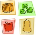 Vegetable icons Stock Photography