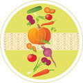 Vegetable ingredients circle sticker illustration Royalty Free Stock Photo