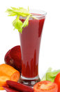 Vegetable juice beet carrot tomatoes celery high glass isolated white background Stock Images