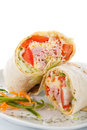Vegetable and meat wrap Royalty Free Stock Photo