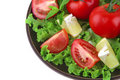Vegetable mix on dark dish Royalty Free Stock Photo