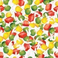 Vegetable mix seamless vector background of green peas peppers corn and rice Stock Photos