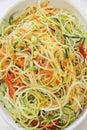 Vegetable noodles closeup vertical shot of Stock Photos