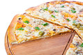 Vegetable pizza made from bio cheese olive mushroom parsley tasty Stock Photography