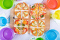 Vegetable pizza small festive table for children Royalty Free Stock Image
